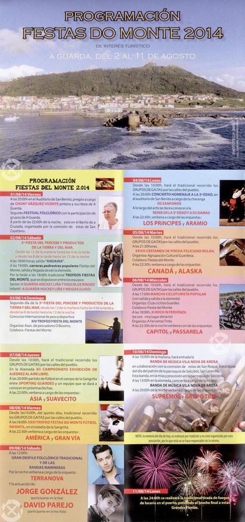 Infominho - PROGRAMACIÓN FESTAS DO MONTE 2014 NA GUARDA - INFOMIÑO - Informacion y noticias del Baixo Miño y Alrededores.