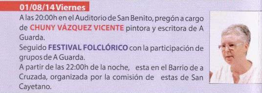 Infominho - PROGRAMACIÓN FESTAS DO MONTE 2014 - VENRES 1 DE AGOSTO  - INFOMIÑO - Informacion y noticias del Baixo Miño y Alrededores.