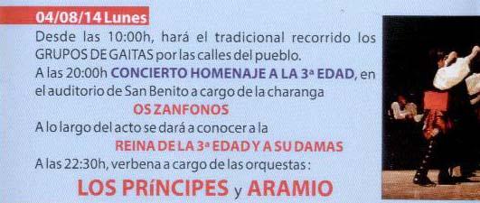 Infominho - PROGRAMACIÓN FESTAS DO MONTE 2014 – LUNES 4 DE AGOSTO  - INFOMIÑO - Informacion y noticias del Baixo Miño y Alrededores.