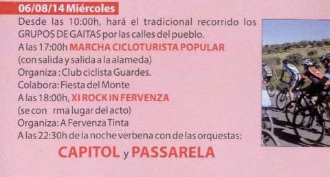 Infominho - PROGRAMACIÓN FESTAS DO MONTE 2014 – MÉRCORES 6 DE AGOSTO  - INFOMIÑO - Informacion y noticias del Baixo Miño y Alrededores.