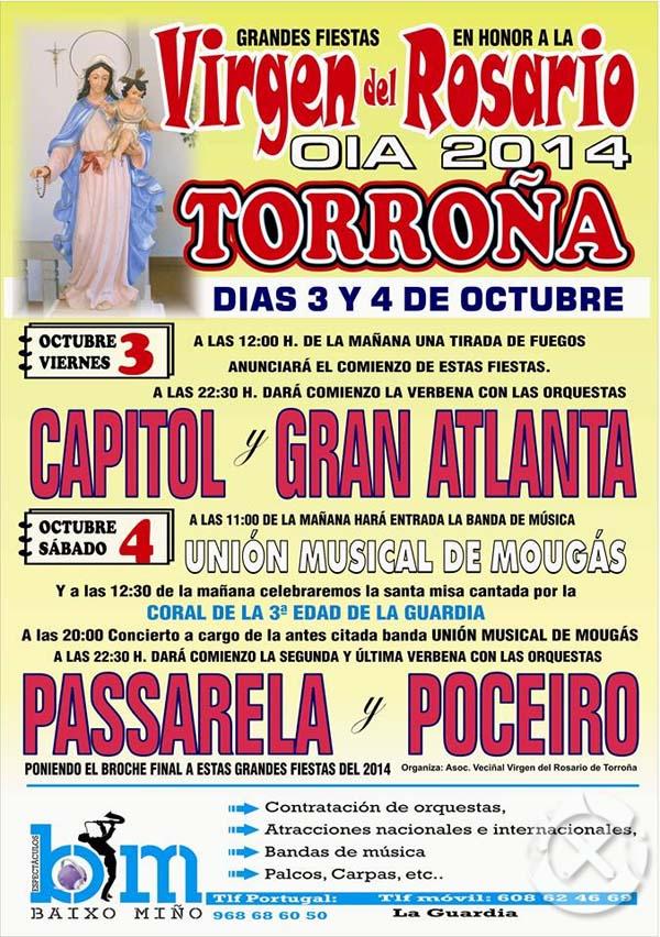 Infominho -  FIESTAS VIRGEN DEL ROSARIO EL 3 Y 4 DE OCTUBRE EN TORRO�A-OIA - INFOMI�O - Informacion y noticias del Baixo Mi�o y Alrededores.