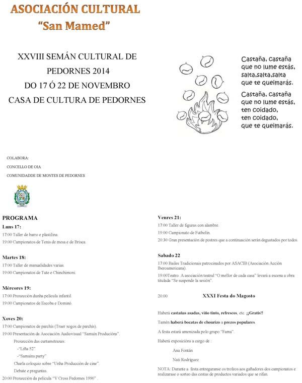 Infominho -  XXVIII SEMANA CULTURAL DE PEDORNES DO 17 � 22 DE NOVEMBRO EN OIA - INFOMI�O - Informacion y noticias del Baixo Mi�o y Alrededores.
