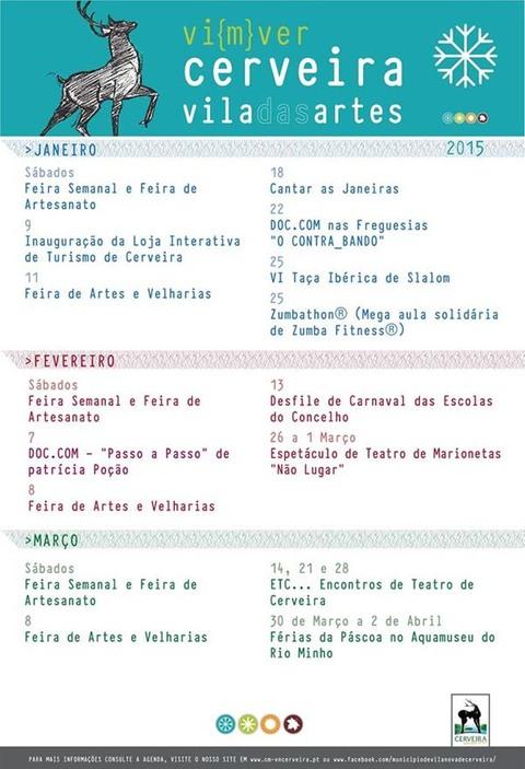 Infominho -  AGENDA VILANOVA DE CERVEIRA JANEIRO, FEVEREIRO E MAR�O 2015 - INFOMI�O - Informacion y noticias del Baixo Mi�o y Alrededores.