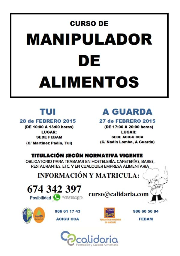 Infominho -  ACIGU Y FEBAM OFRECEN CURSOS DE MANIPULADOR DE ALIMENTOS EL 27 Y 28 DE FEBRERO - INFOMI�O - Informacion y noticias del Baixo Mi�o y Alrededores.