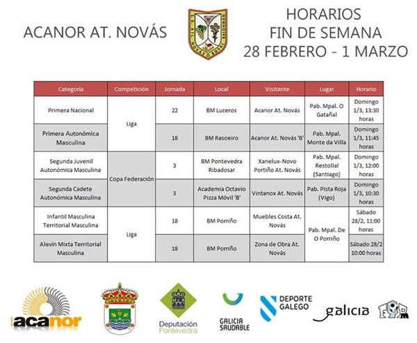 Infominho -  PARTIDOS DO ACANOR ATL. NOV�S PARA ESTA FIN DE SEMAMA - INFOMI�O - Informacion y noticias del Baixo Mi�o y Alrededores.