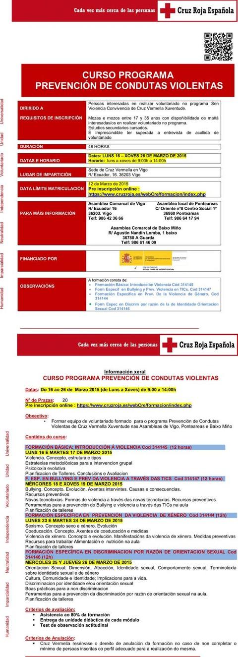 Infominho -  CRUZ ROJA JUVENTUD EN VIGO ORGANIZA UN CURSO PARA LA INCORPORACI�N DE NUEVOS VOLUNTARIOS A SU PROYECTO DE  PREVENCI�N DE CONDUCTAS VIOLENTAS  - INFOMI�O - Informacion y noticias del Baixo Mi�o y Alrededores.