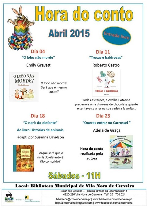 Infominho -  HORA DO CONTO - ABRIL 2015 - NA BIBLIOTECA DE VILANOVA DE CERVEIRA - INFOMI�O - Informacion y noticias del Baixo Mi�o y Alrededores.