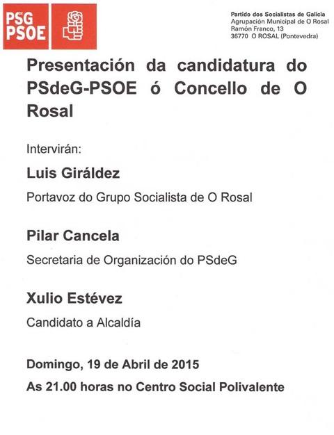 Infominho -  O PSdG PSOE DE O ROSAL PRESENTA A CANDIDATURA �S ELECCI�NS MUNICIPAIS ESTE DOMINGO - INFOMI�O - Informacion y noticias del Baixo Mi�o y Alrededores.