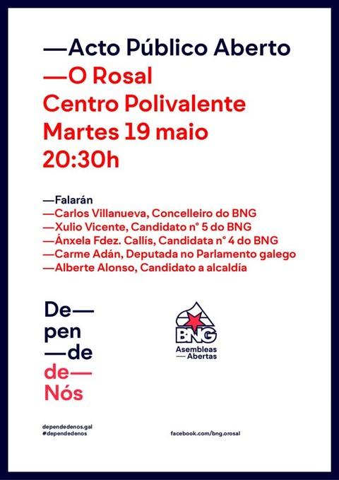 Infominho - ACTO PÚBLICO ABERTO  DO BNG-AA ESTE MARTES NO ROSAL - INFOMIÑO - Informacion y noticias del Baixo Miño y Alrededores.