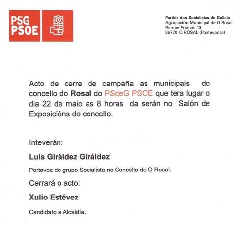 Infominho - ACTO DE PECHE DE CAMPAÑA DO PSdG-PSOE DO ROSAL - INFOMIÑO - Informacion y noticias del Baixo Miño y Alrededores.