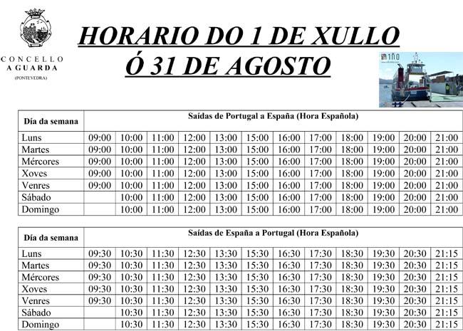 Infominho -  O FERRY QUE UNE A LOCALIDADE DA GUARDA E CAMINHA FIXA OS HORARIOS DO MES DE XULLO E AGOSTO - INFOMI�O - Informacion y noticias del Baixo Mi�o y Alrededores.