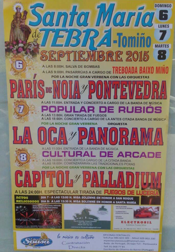 Infominho -  FESTAS SANTA MAR�A DE TEBRA OS D�AS 6, 7 E 8 DE SETEMBRO DE 2015 - INFOMI�O - Informacion y noticias del Baixo Mi�o y Alrededores.