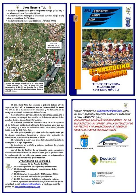 Infominho -  V ENCUENTRO MASTER INTERNACIONAL REMO TUI 2015 - INFOMI�O - Informacion y noticias del Baixo Mi�o y Alrededores.