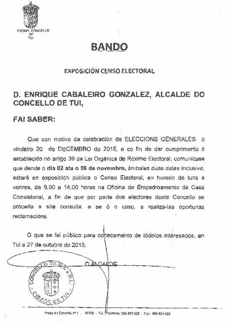 Infominho - ANUNCIO DE EXPOSICIÓN PÚBLICA DO CENSO ELECTORAL NO MUNICIPIO DE TUI - INFOMIÑO - Informacion y noticias del Baixo Miño y Alrededores.