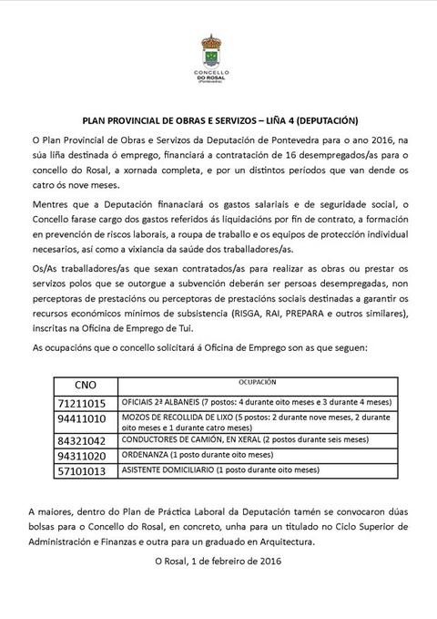 Infominho -  O ROSAL CONTRATAR� 16 DESEMPREGADOS/AS DENTRO DO PLAN PROVINCIAL DE OBRAS E SERVIZOS DA DEPUTACI�N DE PONTEVEDRA - INFOMI�O - Informacion y noticias del Baixo Mi�o y Alrededores.
