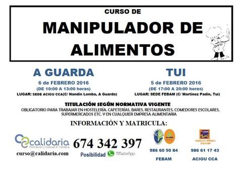 Infominho -  ACIGU E FEBAM ORGANIZAN CURSOS DE MANIPULADOR DE ALIMENTOS EN TUI E A GUARDA - INFOMI�O - Informacion y noticias del Baixo Mi�o y Alrededores.