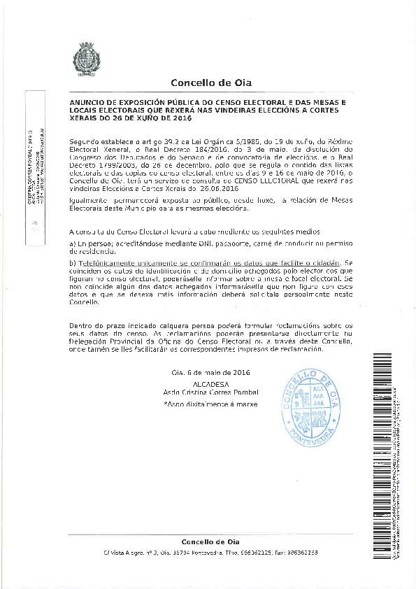 Infominho - EXPOSICIÓN PÚBLICA CENSO ELECTORAL E MESAS LOCAIS PARA AS ELECCIONES DO 26 DE XUÑO DE 2016 EN OIA - INFOMIÑO - Informacion y noticias del Baixo Miño y Alrededores.