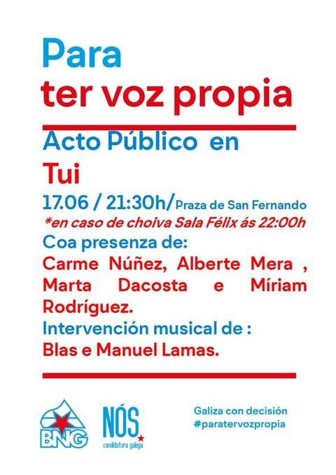 Infominho - Acto público aberto do BNG- Nós-Candidatura Galega este venres en Tui - INFOMIÑO - Informacion y noticias del Baixo Miño y Alrededores.
