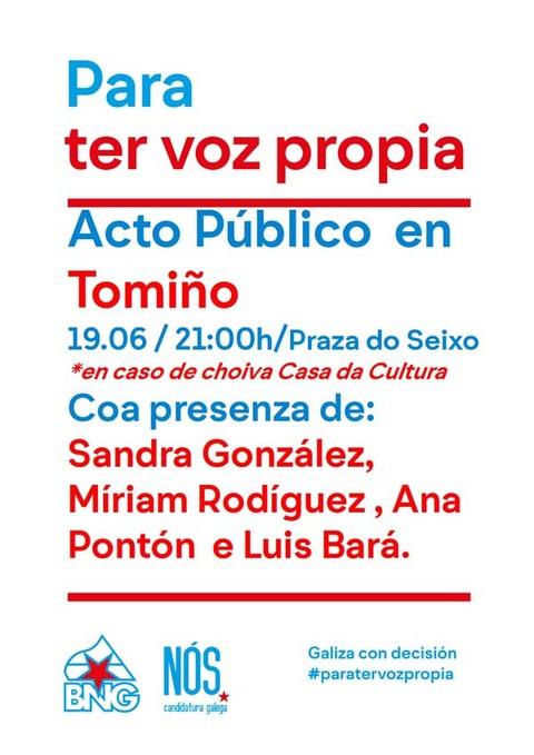 Infominho - Acto público aberto do BNG- Nós-Candidatura Galega este domingo en Tomiño - INFOMIÑO - Informacion y noticias del Baixo Miño y Alrededores.