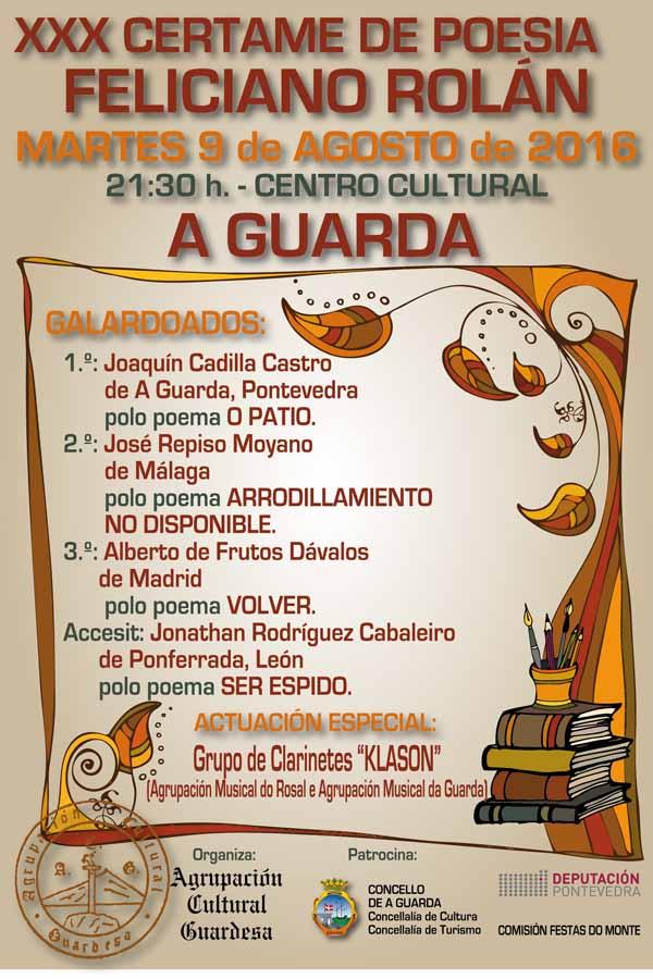 Infominho - A Agrupación Cultural Guardesa xa ten o nome dos premiados do XXX Certame de Poesía Feliciano Rolán - INFOMIÑO - Informacion y noticias del Baixo Miño y Alrededores.