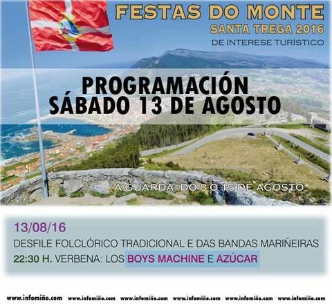 Infominho - Programación Festas do Monte 2016 - Sábado 13 - INFOMIÑO - Informacion y noticias del Baixo Miño y Alrededores.