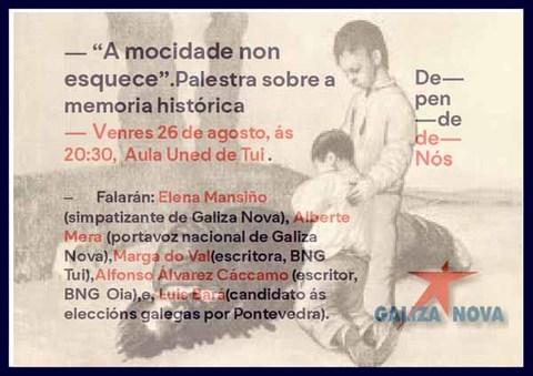 Infominho -  Palestra sobre a Memoria Hist�rica este venres na Aula UNED de Tui - INFOMI�O - Informacion y noticias del Baixo Mi�o y Alrededores.