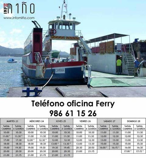 Infominho -  Horarios do ferry dende o martes 23 ao domingo 28 de agosto - INFOMI�O - Informacion y noticias del Baixo Mi�o y Alrededores.