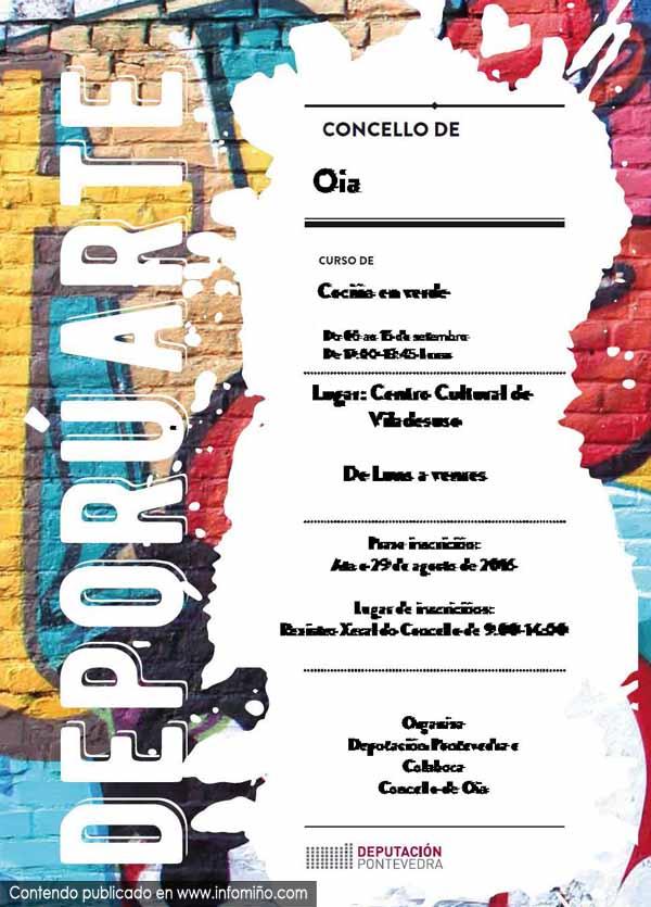 Infominho -  Ata o 29 de agosto aberto o prazo de inscripci�n para o Curso de Coci�a en Verde en Oia - INFOMI�O - Informacion y noticias del Baixo Mi�o y Alrededores.