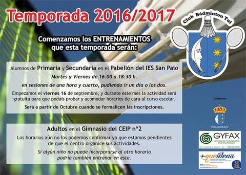 Infominho -  El Club Badminton Tui convoca a una reuni�n este martes en Tui - INFOMI�O - Informacion y noticias del Baixo Mi�o y Alrededores.