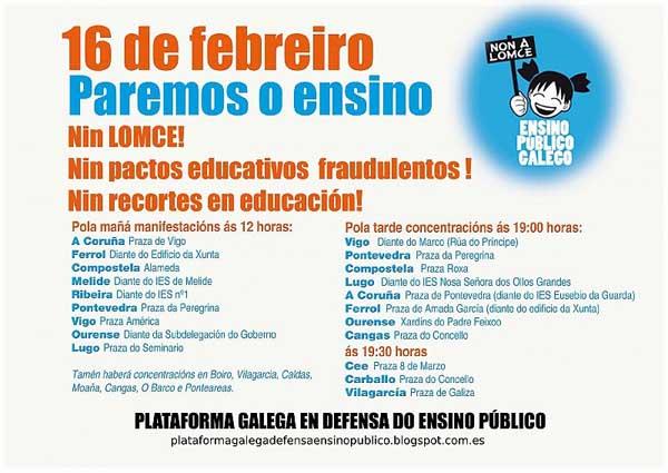 Infominho - O alumnado de secundaria e das universidades galegas irá á folga este xoves 16 de febreiro - INFOMIÑO - Informacion y noticias del Baixo Miño y Alrededores.