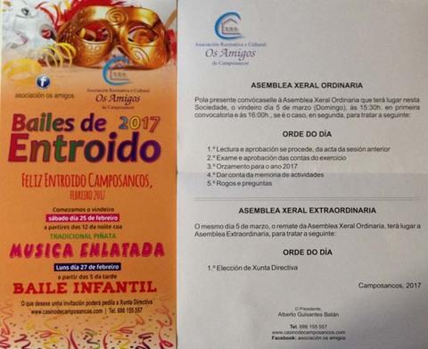 Infominho -  A Asociación Os Amigos de Camposancos informa das vindeiras Asambleas e das actividades do Entroido 2017 - INFOMIÑO - Informacion y noticias del Baixo Miño y Alrededores.