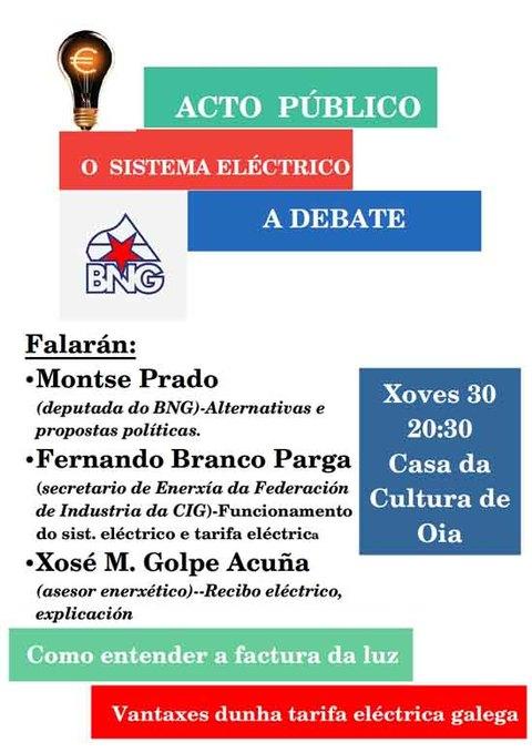 Infominho - O BNG organiza unha charla informativa en Oia sobre o sistema eléctrico coa factura da luz - INFOMIÑO - Informacion y noticias del Baixo Miño y Alrededores.