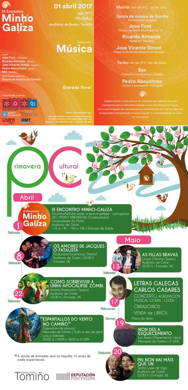 Infominho - A programación cultural de primavera organizada  polo Concello de Tomiño, comeza o día 1 de abril co III Encontro Minho-Galiza - INFOMIÑO - Informacion y noticias del Baixo Miño y Alrededores.
