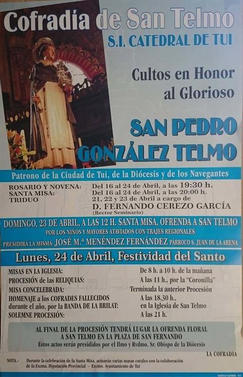 Infominho - Programación Relixiosa nas Festas de San Telmo 2017 en Tui - INFOMIÑO - Informacion y noticias del Baixo Miño y Alrededores.