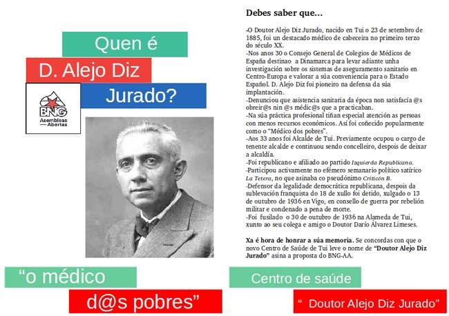 Infominho -  O BNG-AA leva adiante unha recollida de sinaturas para que o novo Centro de Saúde de Tui leve o nome -Doutor Alejo Diz Jurado- - INFOMIÑO - Informacion y noticias del Baixo Miño y Alrededores.