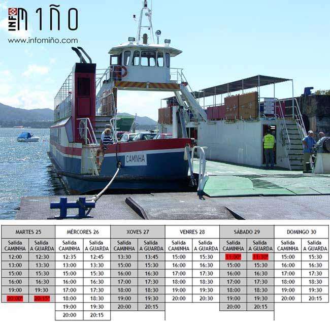 Infominho - Horarios do ferry da Guarda e Caminha ata o domingo 30 de abril - INFOMIÑO - Informacion y noticias del Baixo Miño y Alrededores.