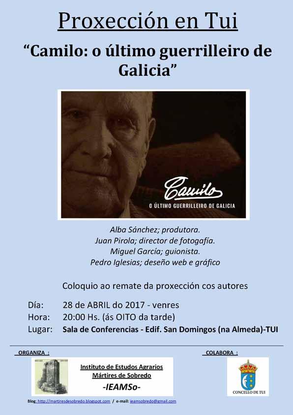 Infominho - Tui acolle este venres a Proxección -Camilo: o último guerrilleiro de Galicia- - INFOMIÑO - Informacion y noticias del Baixo Miño y Alrededores.