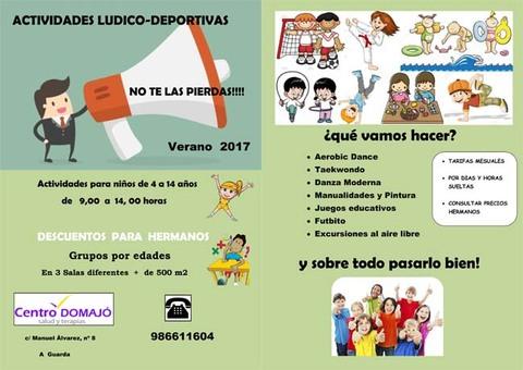 Infominho - Inscripciones abiertas para las actividades Lúdico-deportivas del Centro Domajó este verano en A Guarda - INFOMIÑO - Informacion y noticias del Baixo Miño y Alrededores.