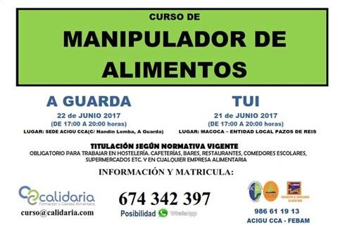 Infominho - Acigu CCA y Febam organizan cursos de Manipulador de Alimentos en A Guarda y Tui - INFOMIÑO - Informacion y noticias del Baixo Miño y Alrededores.