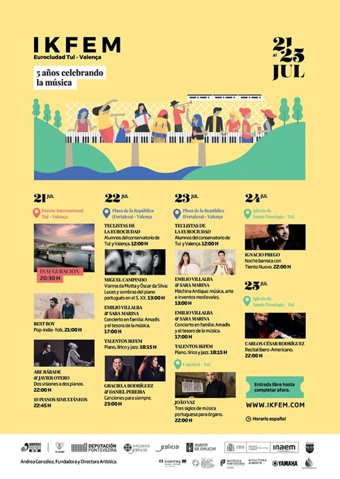 Infominho -  IKFEM abre este viernes su V edición con 10 pianos simultáneos en el Puente Internacional Tui - Valença - INFOMIÑO - Informacion y noticias del Baixo Miño y Alrededores.