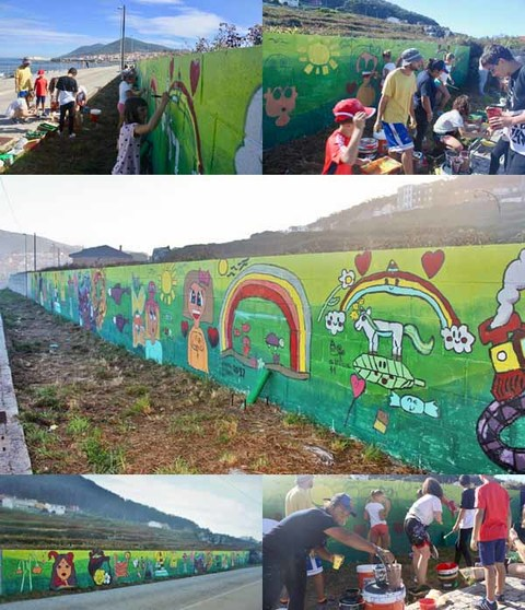 Infominho - As pinturas realizadas no obradoiro mural xa locen na senda litoral da Guarda - INFOMIÑO - Informacion y noticias del Baixo Miño y Alrededores.