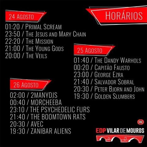 Infominho -  EDP Vilar de Mouros 2017 revela horários de concertos e o primeiro jogo de cartas de um festival de música em Portugal - INFOMIÑO - Informacion y noticias del Baixo Miño y Alrededores.