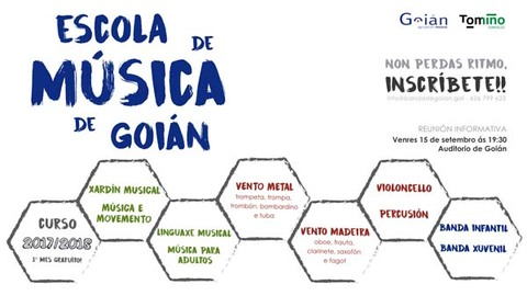Infominho - A escola de música da Agrupación Musical de Goián ten aberto o prazo de inscrición para o curso académico 2017/2018 - INFOMIÑO - Informacion y noticias del Baixo Miño y Alrededores.