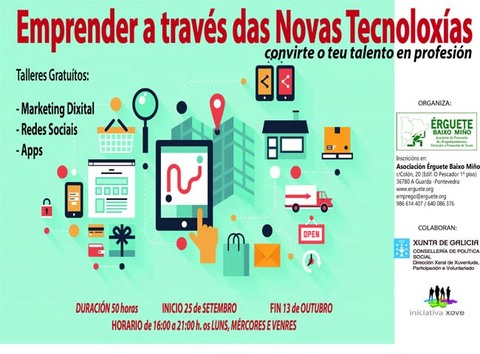 Infominho -  Emprender a través das novas tecnoloxías: Formación presencial para a xuventude emprendedora - INFOMIÑO - Informacion y noticias del Baixo Miño y Alrededores.